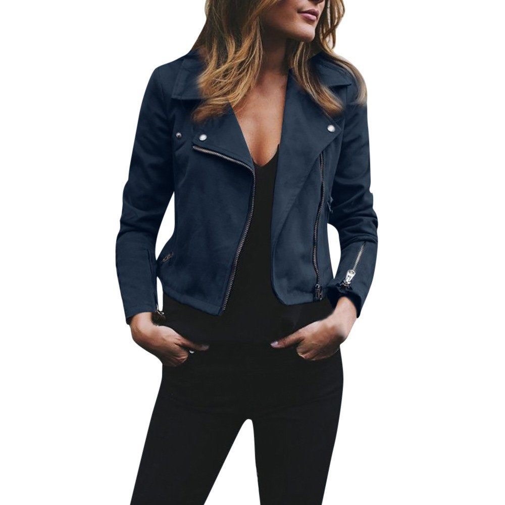 HHei_K Womens Autumn Winter Retro Notched Collar Long Sleeve Rivet Zipper up Bomber Jacket Casual Solid Coat Outwear