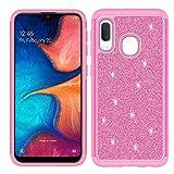 Customerfirst Case for Samsung Galaxy A10E Cute Glitter Bling Sparkle Dual Layer Protective Hybrid Shockproof Girls A10e Bumper Cover [Free Emoji Bonus!] (Pink)
