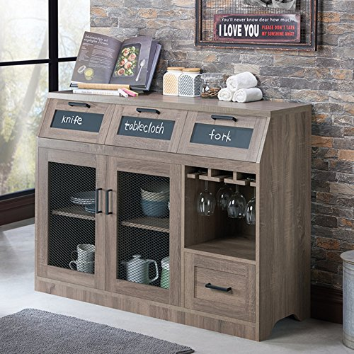 Industrial Server - Dining Room Sideboard Cabinet with Chalkboard Drawers and Mesh Doors - Vintage Rustic Style (Chestnut Brown)