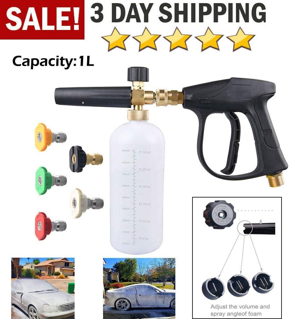 "1//4/"" Pressure Snow Foam Washer Jet Car Wash Adjustable Soap Spray Cannon Tool"