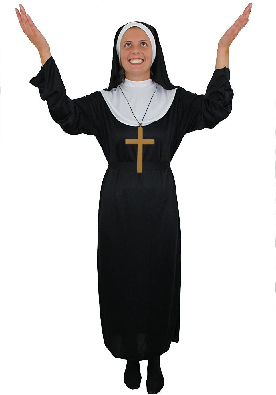PREGNANT NUN COSTUME NOVELTY MENS WOMENS FANCY DRESS UNISEX RELIGIOUS OUTFIT