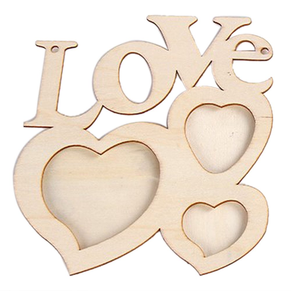 MSOO Hollow Love Wooden Photo Frame DIY Picture Frame Art Decor White Base