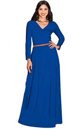 Koh Koh Womens Long Sleeve V Neck Formal Fall Cocktail Evening Gown