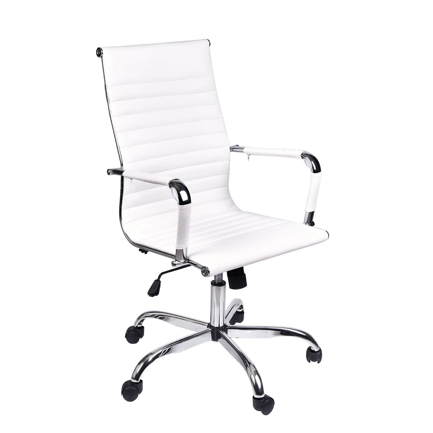 Elecwishadjustable office executive swivel chair high back padded tall ribbed pu leather wheels arm rest computer chair chrome base home furniture