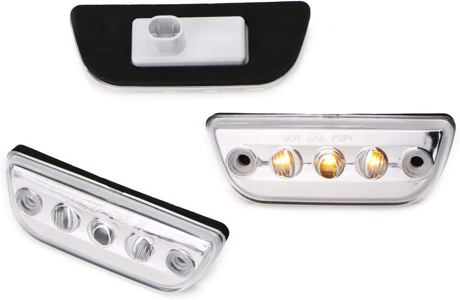 iJDMTOY 5pc Clear Lens Chrome Finish Super Bright Amber Full LED Front Cab Roof Marker Lights Compatible With Kenworth T680 T770 T880 Peterbilt 579 Semi-Truck