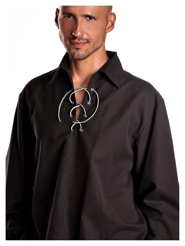 Männer Schwarz schottischen Jakobiten Ghillie Kilt Shirt Hemd