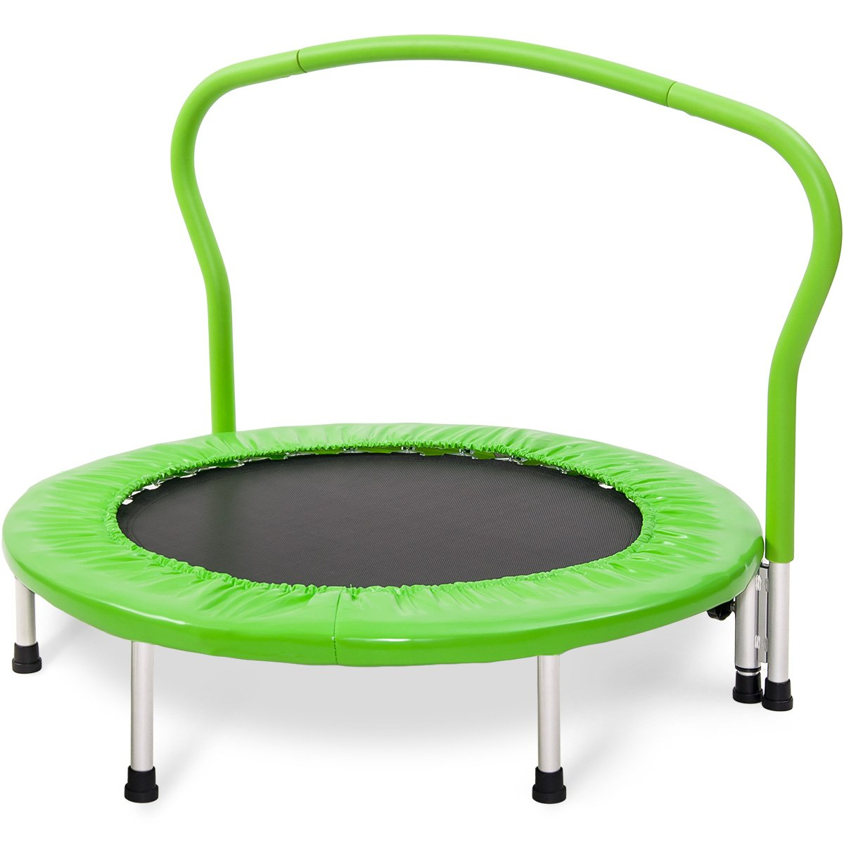 Merax 36'' Kid's Mini Exercise Trampoline Portable Trampoline with Handrail and Padded Cover (Green)