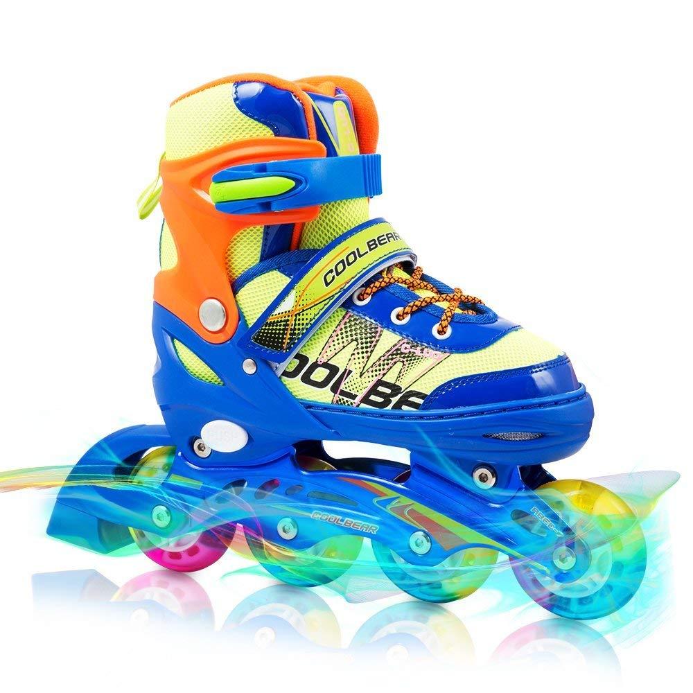 Otw-Cool Adjustable Inline Skates Kids Boys Rollerblades All Wheels Light up, Safe Durable Inline Roller Skates Boys