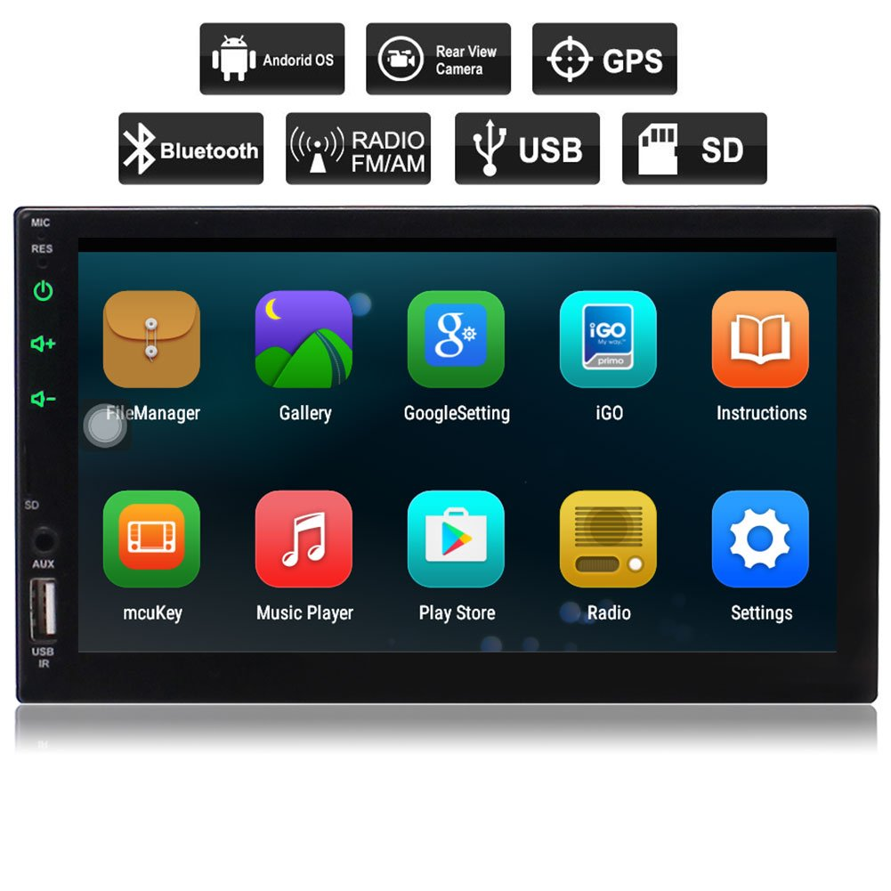 New Eincar Android 6.0 Car Stereo Radio Double Din with Bluetooth GPS Navigation Quad Core, Support Mirror Link, WIFI, Backup Camera In, 64GB USB SD, 7 inch Touch Screen,External Mic,Remote Control Car Multimedia System pTT.AN7023GNN2