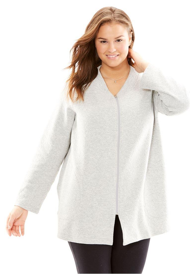 Only Necessities Women's Plus Size Quilted Fleece Short Bed Jacket Heather