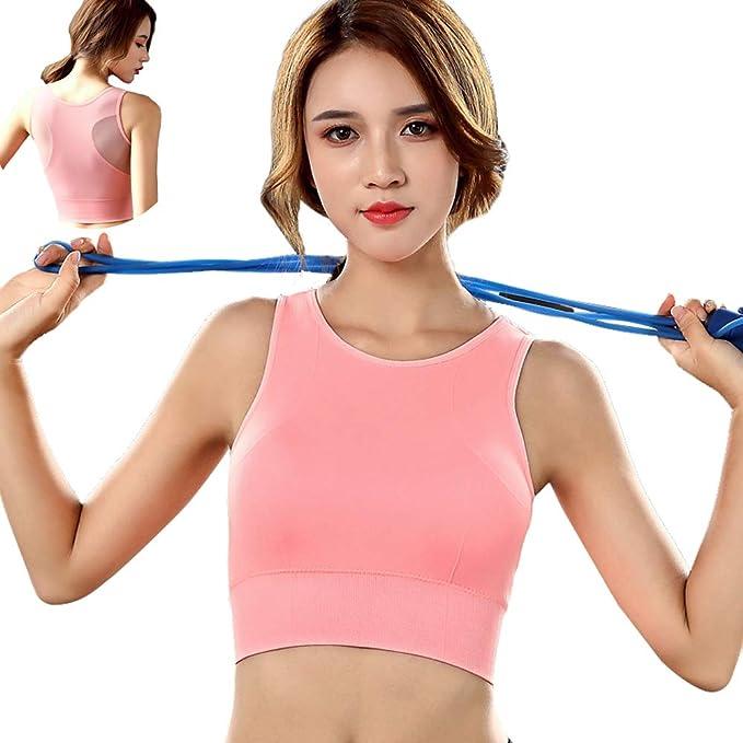 762c43686a VANPIE High Intensity Sports Bra Crop Top Padded Gym Bra for Running Mesh  Workout Bra Pink
