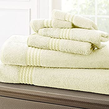 Bamboo Cotton Towel Set - Soft and Absorbent - 6-Piece Set - 550 GSM - Includes Wash Cloths, Hand Towels & Bath Towels - Cream