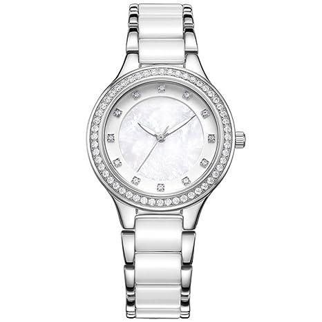 GAOY Watch Relojes Señora Reloj De Moda Impermeable Diamante Brillante Cuarzo Analógico Franja De Acero Cerámica