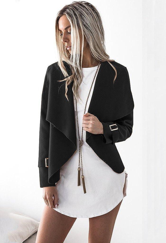 Minetom Donna Invernale Elegante Manica Lunga Aperto Davanti Colletto Cappotto Casual Giacca Blazer Corto Cardigan Kimono Giubbino Coat