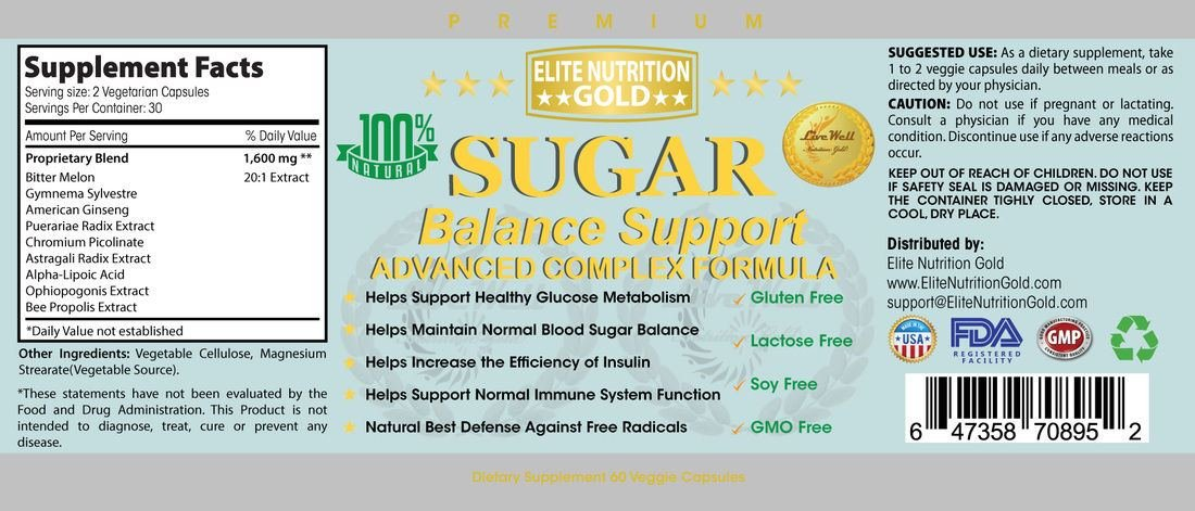 Sugar Balance Support Advanced Complex Formula All Natural 1600mg