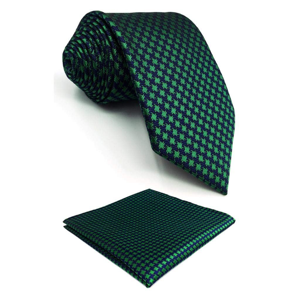 S/&W SHLAX/&WING Houndstooth Verde Azul Ties for Men with Pocket Square Party