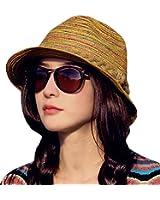 IL Caldo Womens Fascinators Summer Braid Colorful Straw hat Fashion Sun Beach hats