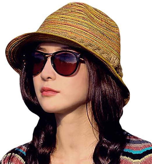 IL Caldo Womens Fascinators Summer Braid Colorful Straw hat Fashion Sun  Beach Hats 1e48cbb8581