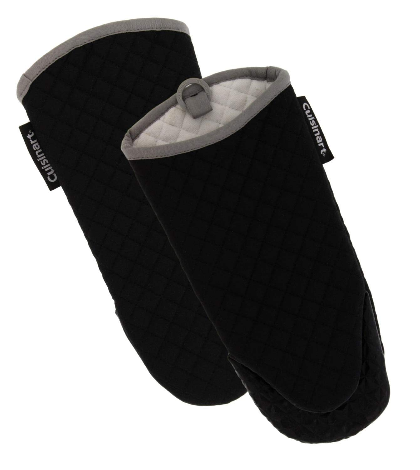 Cuisinart Silicone Oven Mitts/Gloves - Heat Resistant up to 500 F, Handle Hot Oven/Cooking Items Safely - Soft Insulated Deep Pockets, Non-Slip Grip and Convenient Hanging Loop – Jet Black, 2pk