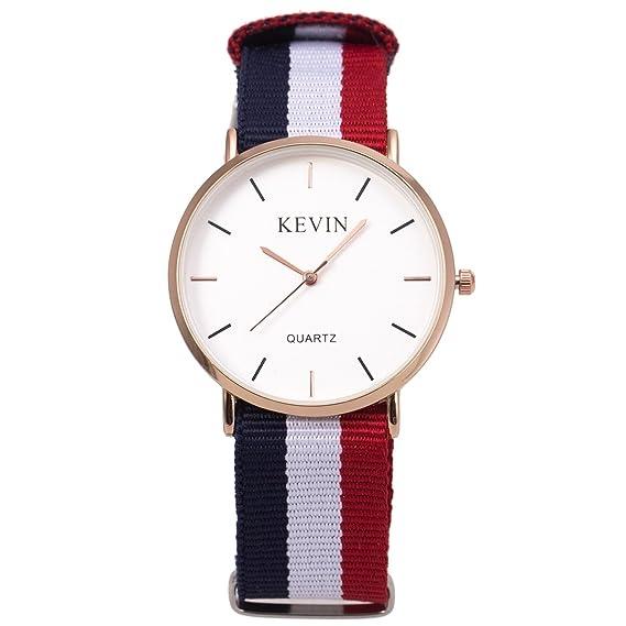 14178d1087925c Kevin Orologio da polso da uomo, ultra-sottile e minimalista, con strisce  multicolore al quarzo, stile classico e semplice: Amazon.it: Orologi