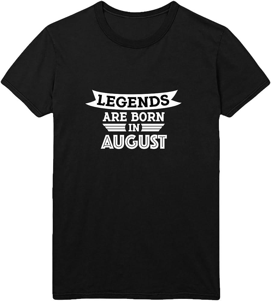 Legends Are Born In August T-Shirt Camiseta Shirt para Hombre Hombres Camisa Negra Men Mens Tshirt 100% Algodón Regalo De Cumpleaños Navidad Mujer 2XL Men Black Men Shirt: Amazon.es: Ropa y accesorios
