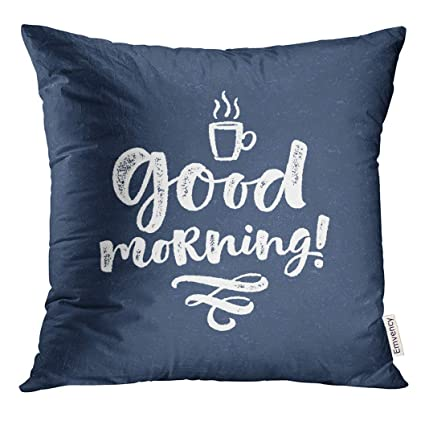 Golee Throw Pillow Cover Letter Black Coffee Good Morning Lettering Phrase Modern Brush Calligraphy Prints And