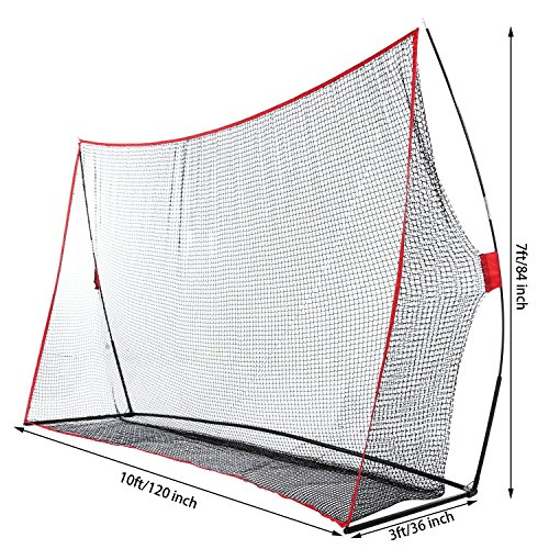 Fashine 10 x 7ft Golf/Baseball/ Soccer/Lacrosse Training Pitching Hitting Net Practice Driving Indoor and Outdoor with Bow Frame and Carrying Bag (US Stock) by Fashine (Image #2)
