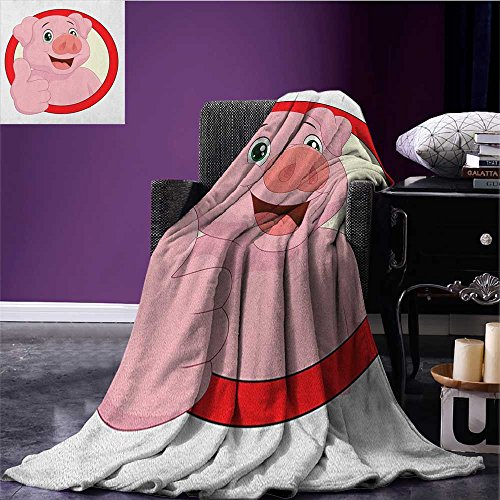 Cartoon picnic blanket Pig Mascot with Thumbs Up Animal Illustration with a Circular Frame soft throw blanket Pale Pink Beige Vermilion size:59
