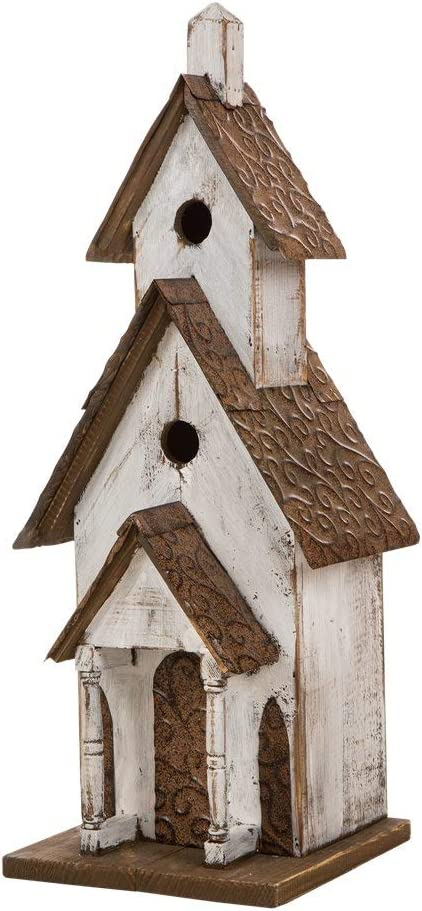 Amazon Com Glitzhome 23 62 H Birdhouse Rustic Tall Church Hand Painted Wood White Extra Large Bird House For Outside Garden Outdoor