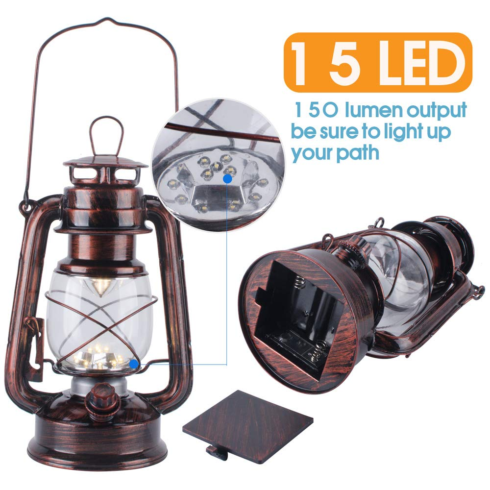 Vintage LED Hurricane Lantern with Dimmer Switch and 15 LEDs Hand-Painted Gold Metal Hanging Lantern for Indoors and Outdoor Usage Warm White Electric Kerosene Lamp Battery Operated