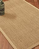 NaturalAreaRugs Lancaster Area Rug Natural Seagrass Hand-Crafted Khaki Wide Canvas Border, 4' x 6'