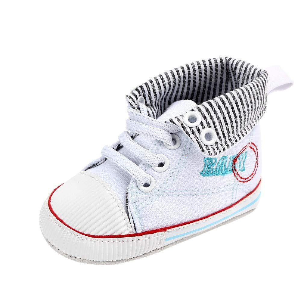 NUWFOR Newborn Toddler Baby Girls Boys Canvas Anti-Slip First Walkers Soft Sole Shoes(White,0-6 Months)