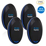 Bugs Repellent, Ultrasonic Pest Repeller Plug in, Electronic Mosquito Repellent, Pest Control for Roach, Mice, Spider, Bat, Gecko, Ant, Flea, Bedbugs -360°All-Round Protection for Family Members-Black