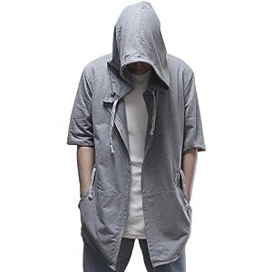 ケンオウ ロングパーカー マントパーカー メンズ 春夏 薄手 Ver. (L, 22グレー五分袖)