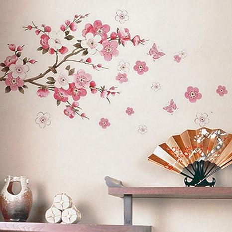 Ysfu Sticker Da Muro Adesivi Murali Fiore Di Pesco Soggiorno Sfondo