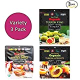 Wild & Raw Sun Dried Organic Fruit (Turkish Figs & Deglet Noor Pitted Dates & Turkish Apricots), Pack of 3