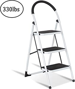 Karmas Product Portable Folding 3 Step Ladder Steel Stool with Handgrip 330lb Capacity Fully Assembled