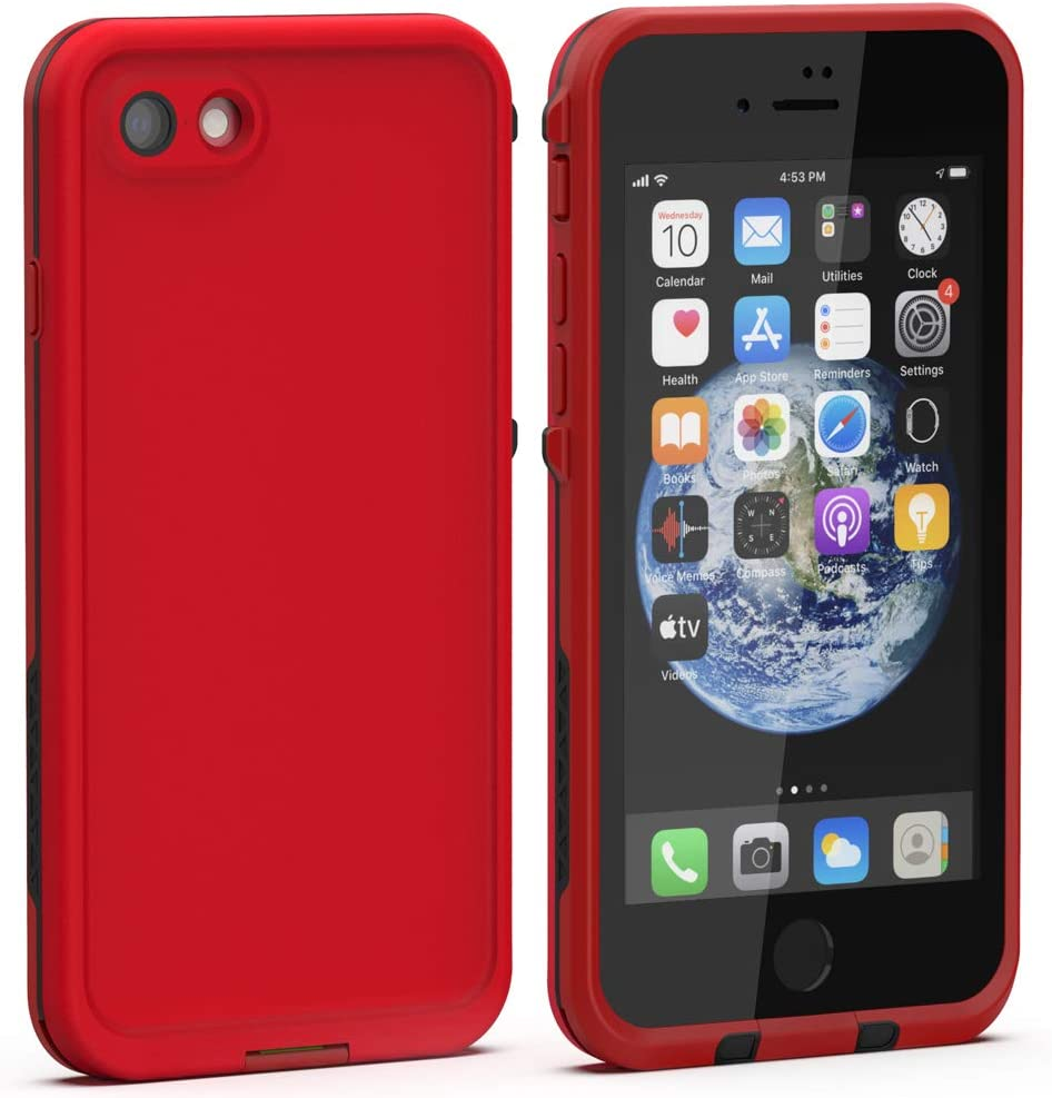 Diverbox iPhone SE 2020 Waterproof Case iPhone 8 Waterproof Case,Waterproof Shockproof IP68 Full-Body Sturdy Case Built-in Screen Protector, Durable Underwater for Full Sealed Cover 4.7 in (Red)