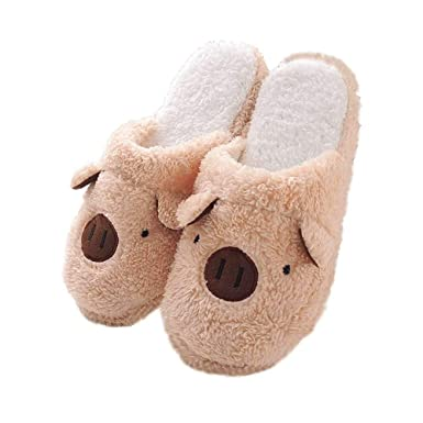 84c7db532a0 Amazon.com  Womens Fuzzy Animal Slippers Ladies Cute Bedroom Indoor Winter  Slippers  Clothing