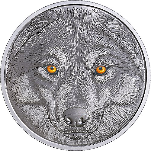 2017 CA In The Eyes Of The PowerCoin WOLF Glow In The Dark Silver Coin 15$ Canada 2017 Proof