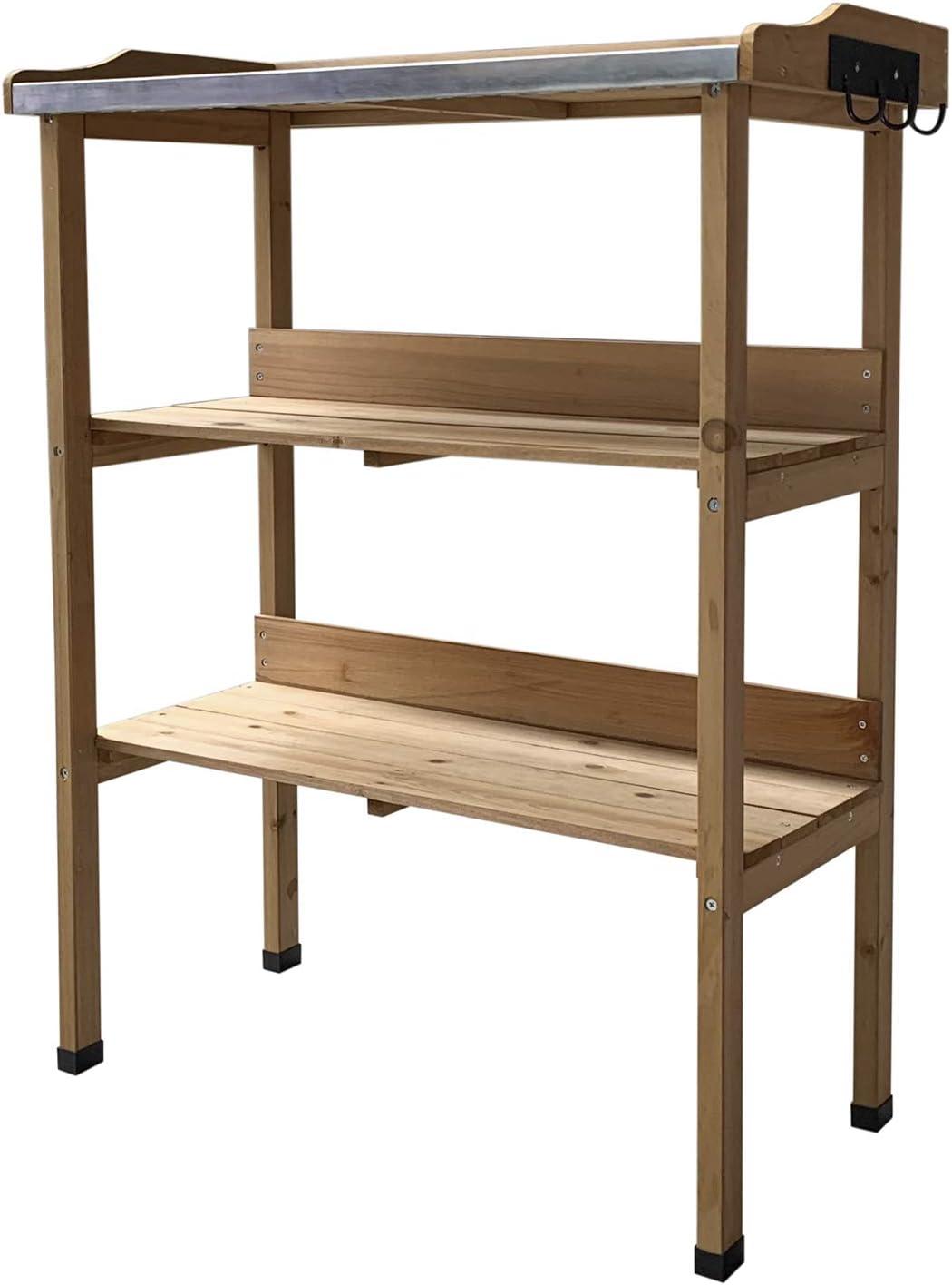 Gardiun KNH1090 - Mesa de trabajo jardinería madera natural Melvin 76x37x89 cm