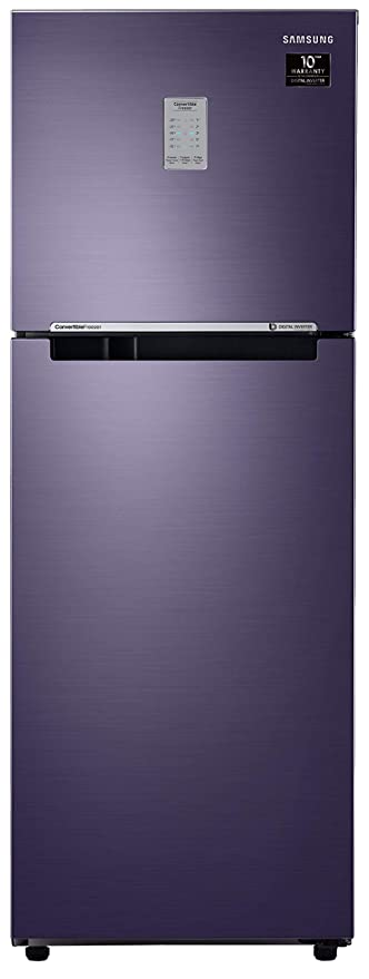 Samsung 253L 2 Star Inverter Frost Free Double Door Refrigerator  RT28T3782UT/HL, Pebble Blue, Convertible  Refrigerators