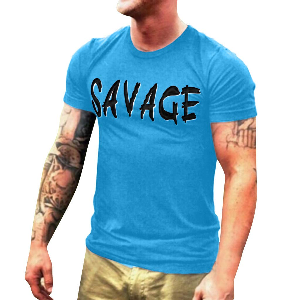 Men T-Shirt Short Sleeve Casual Fashion Shirt Letter Print Top Blouse (S, Blue)