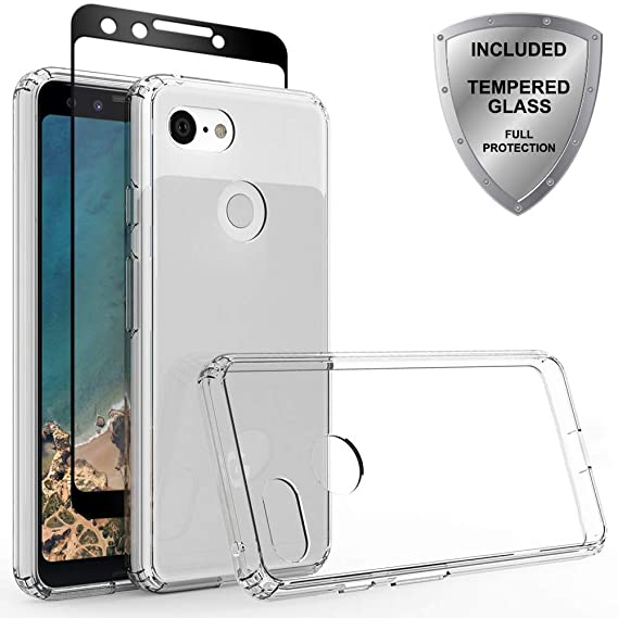 brand new 983f4 75874 Google Pixel 3 Case Tempered Glass Screen Protector, ChangeJ Shock  Absorption Slim Clear Flower case Google Pixel 3 (Clear)
