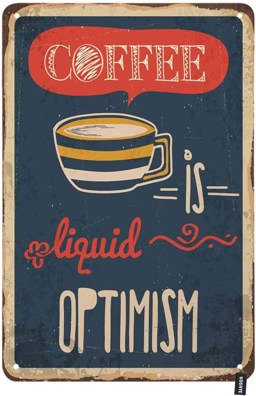 HOSNYE Hot Coffee Tin Sign Retro Tin Food Poster with Drink and Lettering Design Vintage Metal Tin Signs for Men Women Wall Art Decor for Home Bars Clubs Cafes 8x12 Inch