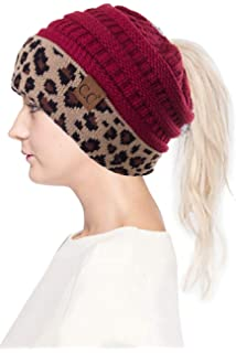 35ebb124160a ScarvesMe CC Women Classic Solid Color with Leopard Cuff Ponytail Messy Bun  Beanie Skull Cap