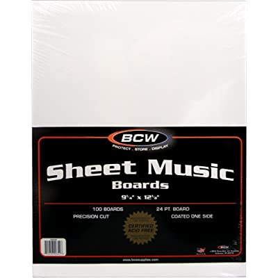 "100 Sheet Music Size Backing Boards / Backers (9-1/4"" x 12-1/8"") - Protect Sheet Music From Bending! #MAIWSH: Toys & Games"
