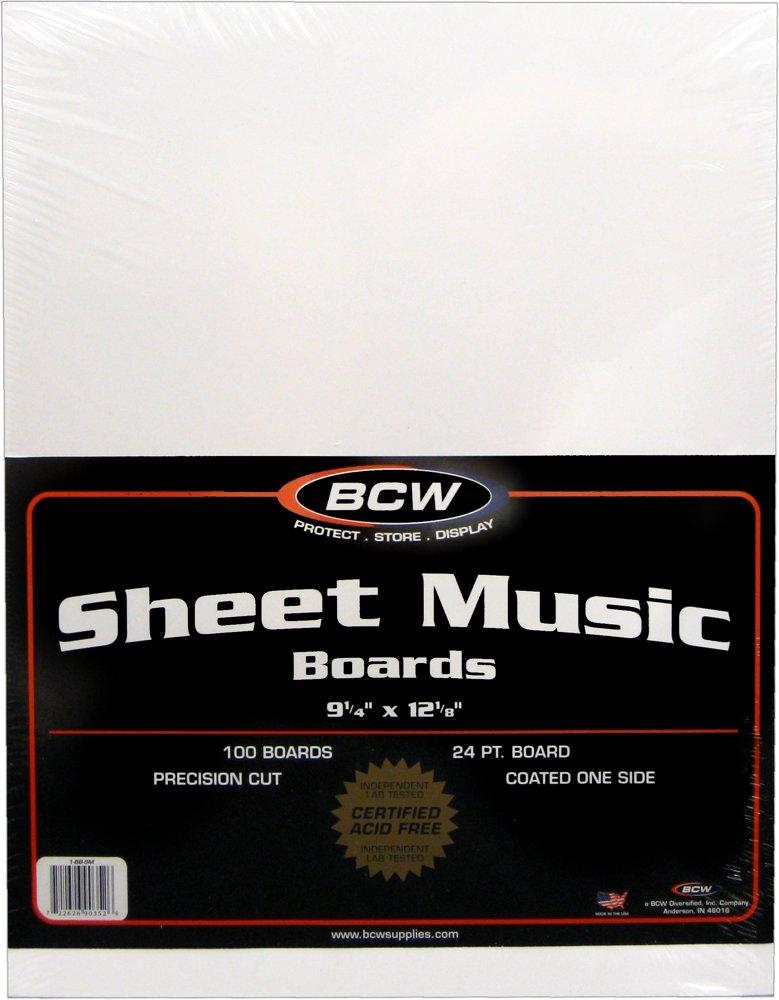 100 Sheet Music Size Backing Boards / Backers (9-1/4'' x 12-1/8'') - Protect Sheet Music From Bending! #MAIWSH