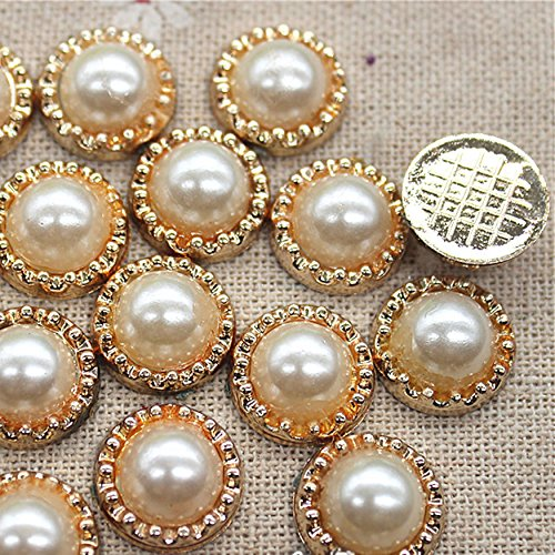 Golden Flower Pearl Plastic Flatback Button Decoration Sewing Craft Scrapbook Accessories ()