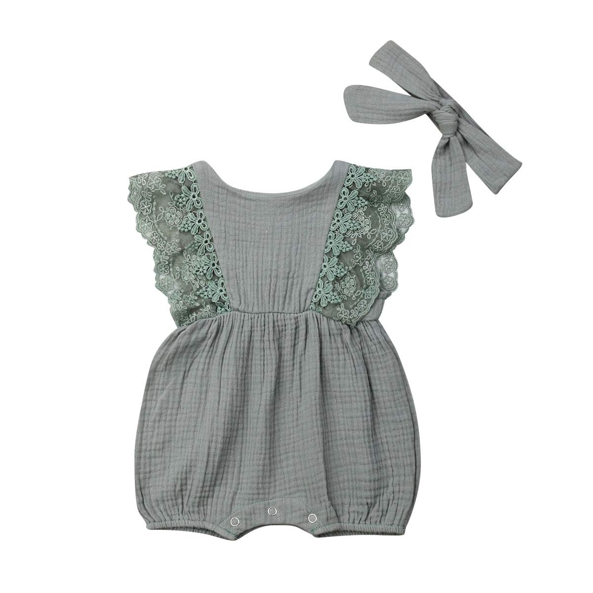 Infant Baby Girls Ruffle Sleeveless Lace Linen Romper Bodysuit Outfit Onesie Jumpsuit with Headband Summer Sunsuit Set